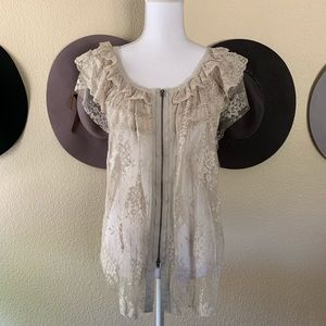 Free People Zip Up Lace and Ruffle Shirt